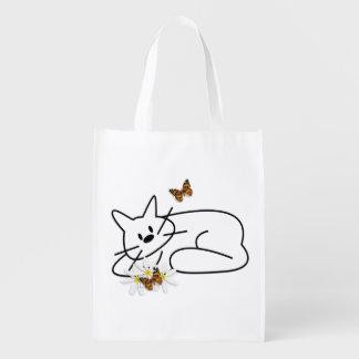 Doodle Cat Reusable Grocery Bag
