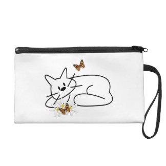 Doodle Cat Wristlet Clutch