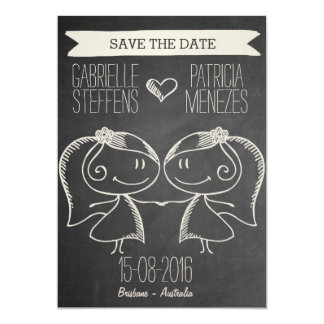Doodle Couple on Blackboard Lesbian Save the Date 13 Cm X 18 Cm Invitation Card