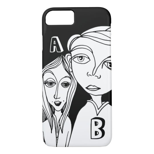 Doodle Couple & Two Personalised Letters iPhone 8/7 Case