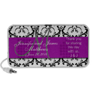Doodle Damask Thank You Wedding Favour Custom Mp3 Speakers