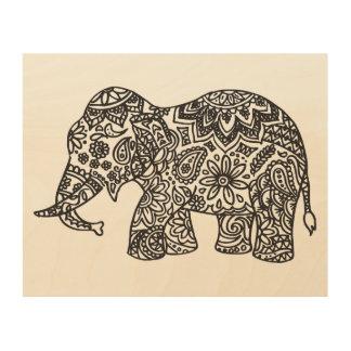 Doodle Elephant 5 Wood Canvas