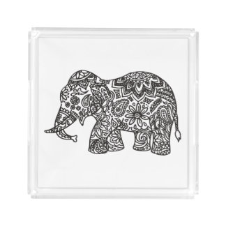 Doodle Elephant Acrylic Tray