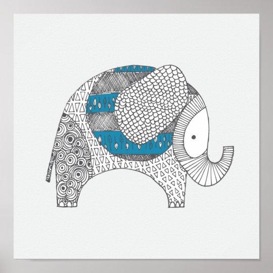 Doodle Elephant. Nursery Decor. Poster