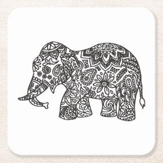 Doodle Elephant Square Paper Coaster