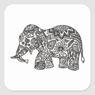 Doodle Elephant Square Sticker