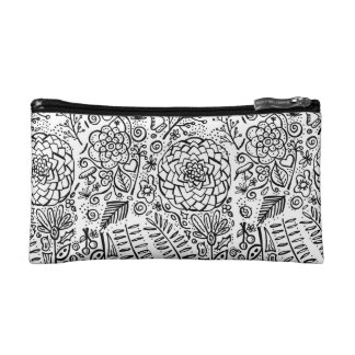 doodle floral cosmetics bags