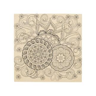 Doodle Flowers And Mandalas 5 Wood Print