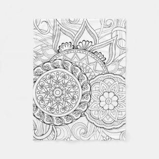 Doodle Flowers And Mandalas Fleece Blanket