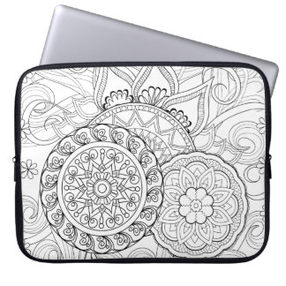 Doodle Flowers And Mandalas Laptop Sleeve