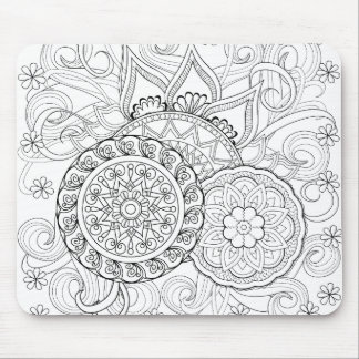Doodle Flowers And Mandalas Mouse Mat