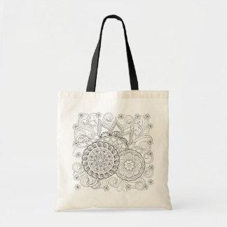 Doodle Flowers And Mandalas Tote Bag