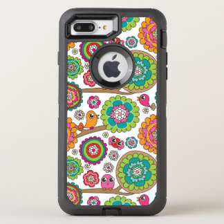 doodle flowers background pattern OtterBox defender iPhone 8 plus/7 plus case