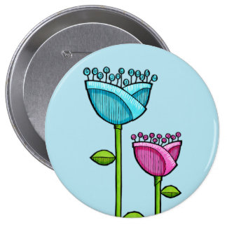 Doodle Flowers blue pink Button