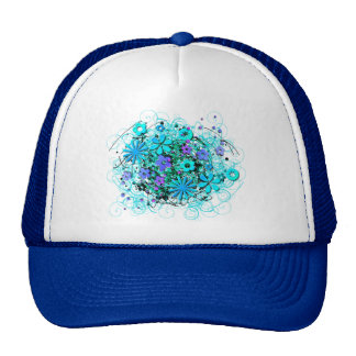 Doodle Flowers Trucker Hats