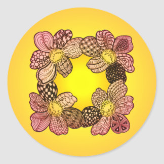Doodle Flowers in Peach Orange and Gold Round Sticker