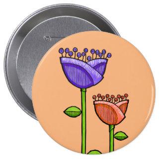 Doodle Flowers orange purple Button