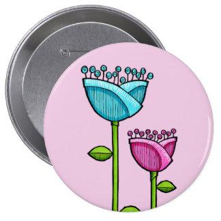 Doodle Flowers pink blue Button