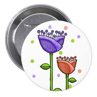 Doodle Flowers purple orange dots Button