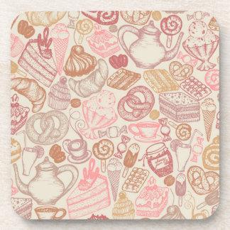 Doodle food pattern dessert beverage coaster