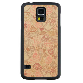 Doodle food pattern dessert carved maple galaxy s5 case