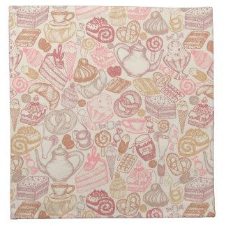 Doodle food pattern dessert napkin