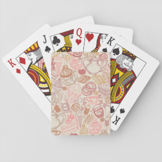 Doodle food pattern dessert playing cards