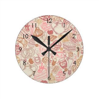 Doodle food pattern dessert round clock