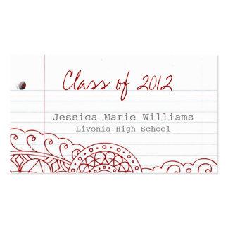 Doodle Graduation Name Card Pack Of Standard Business Cards