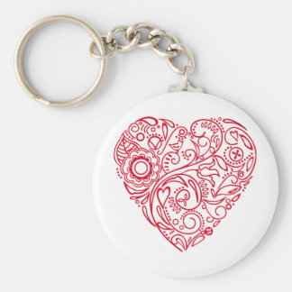 doodle heart basic round button key ring