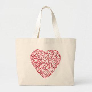 doodle heart jumbo tote bag