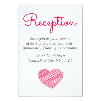 Doodle Heart Pink Red Wedding Party Reception 9 Cm X 13 Cm Invitation Card