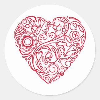 doodle heart round sticker