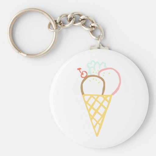 Doodle Ice Cream Cone Key Chains