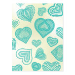 Doodle & Lace Fresh Teal hearts Post Card