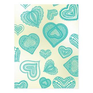 Doodle & Lace Fresh Teal hearts Postcard