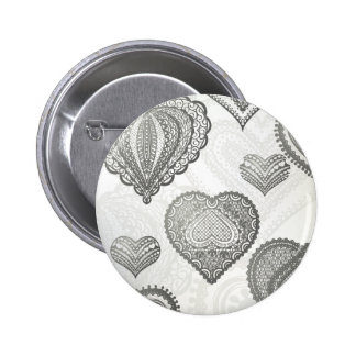 Doodle & lace grey hearts 6 cm round badge