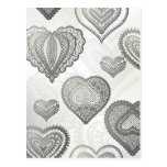 Doodle & lace grey hearts post card