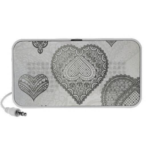 Doodle & lace grey hearts travelling speaker