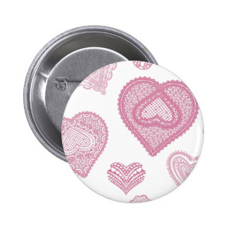 Doodle & Lace pink hearts 6 Cm Round Badge