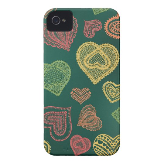 Doodle & Lace Sunset Leaf hearts iPhone 4 Case