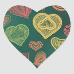Doodle & Lace Sunset Leaf hearts Stickers