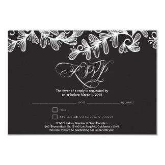 Doodle Leaves 9 Cm X 13 Cm Invitation Card