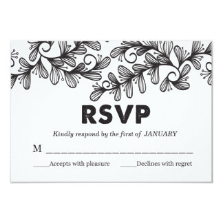 Doodle Leaves - RSVP Card 9 Cm X 13 Cm Invitation Card