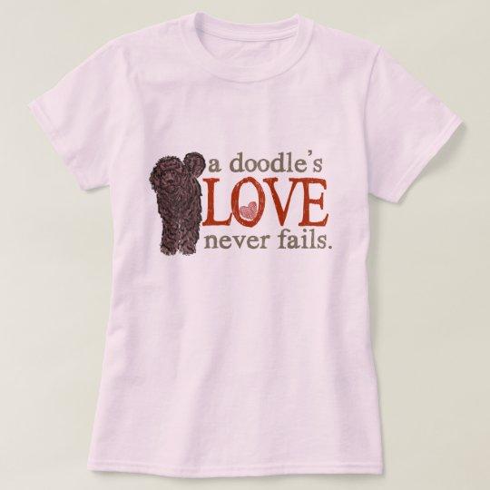 Doodle Love Never Fails - Chocolate GoldenDoodle T-Shirt