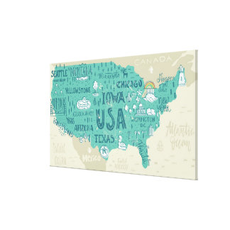 Doodle Map Of USA Canvas Print