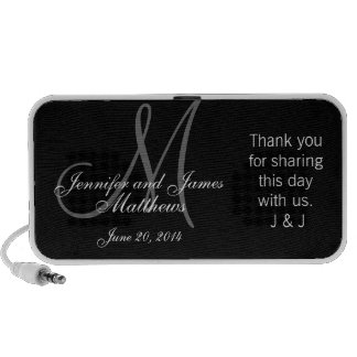 Doodle Monogram Thank You Wedding Favour Gift Travel Speakers