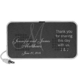 Doodle Monogram Thank You Wedding Favour Gifts Laptop Speaker