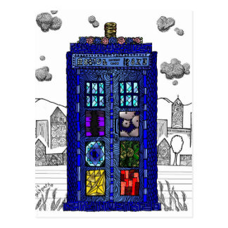 Doodle of a blue box police call box postcard