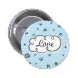 Doodle on School Paper Love Pinback Button